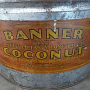 SALE Antique Advertising Tin Banner Brand Coconut General Foods