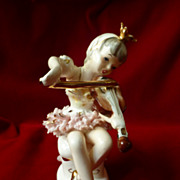 Vintage Lipper & Mann Porcelain Lace Ballerina Playing Violin Figure