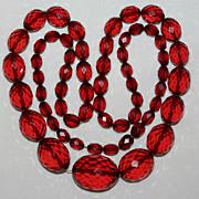 "Vintage 30"" Long Graduate Faceted Cherry Amber Bakelite Necklace"