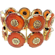 Vintage Chinese Gilded Sterling Silver Floral Repousse Carnelian Donut 2 Row Hinged Bracelet