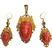 Exquisite Antique Victorian Etruscan Revival 18K Gold Carve d Coral Cameo Ariadne Pendant and