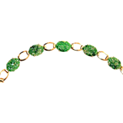 SALE Vintage Art Deco Chinese 14K Yellow Gold Carved Green Jadeite Jade Floral Link Bracelet