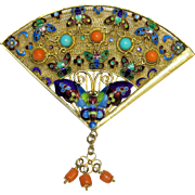 Adorable Chinese Vintage Gilt Silver Enamel Filigree Fan Shape Butterfly Floral Salmon Red ...