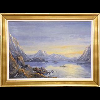 "Fjord Sunset & Fishing Boat, Original 1940's Scandinavian Oil Painting, 45"" wide"