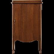 Oak 1900 Antique Music Cabinet, Original Brass Latch