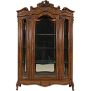 French Triple Armoire 1900's Antique China Curio Display Cabinet