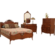 French Style 1940's Vintage Joerns 4 Pc. Full Size Bedroom Set