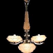 French Art Deco 1930's Chrome & Glass Chandelier Light Fixture