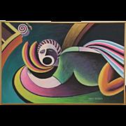 Snoring, 2002 Original Acrylic Painting, Signed Wisconsin Artist Bruce Bodden