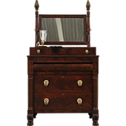 Empire 1820's New York Dresser, Chest or Dressing Table & Mirror, Lion Paw Feet