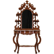 Victorian 1850's Antique Carved Walnut Etagere Display,  Marble Top & Mirror