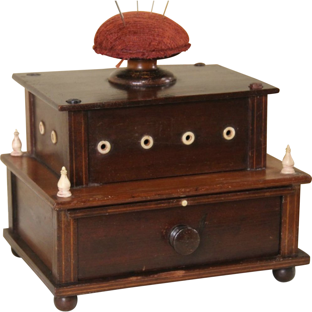Victorian 1850 39 S Antique Sewing Thread Box Pin Cushion From Rubylane Sold On Ruby Lane