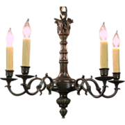Chandelier, 1920's Antique Rewired 5 Candle Oil Rubbed Bronze