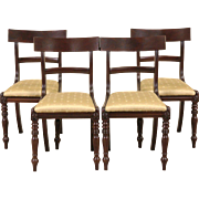 Set of 4 Danish 1890's Antique Dining or Game Table Chairs,