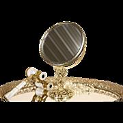 Gold Filigree Vintage Swivel Boudoir Magnifying Mirror