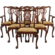 Georgian Chippendale Set of 6 Carved Mahogany Dining Chairs, 1950 Vintage