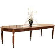 Victorian 1880 Antique Round Oak Dining Table, 6 Leaves Extends 10'