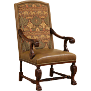 Whittemore Sherrill Leather & Tapestry Carved Mahogany Throne Chair with Arms