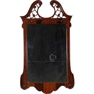 Georgian Chippendale 1920's Mahogany Wall Mirror