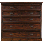 Lumberjack Country Pine Giant 5 Drawer Antique 1890's Chest of Drawers