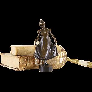 Bronze 1900 Antique Sculpture of Girl Holding Skirt signed Ruff