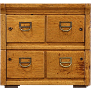 Oak 1910 Antique Desktop 4x6 Card File Cabinet