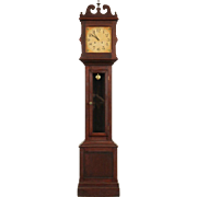 Ithaca Cherry Antique 1910 Grandfather Tall Case Clock, Quartz Battery Movement