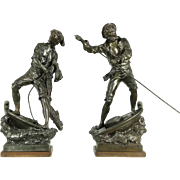 """Fishermen Statues, Pair of Signed Rousseau 1900 Antique Sculptures, 27"""" tall"""