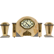 French Art Deco 1920 Antique Onyx & Marble Mantel Clock Set, 2 Urns