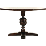 English Tudor 1900 Antique Oak Game, Breakfast, Foyer, Hall or Lamp Table