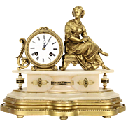 French Alabaster & Gold Antique 1890's Mantel Clock with Statue of a Lady