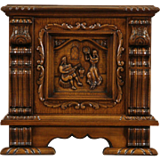 Scandinavian Oak 1920's End Table or Cabinet, Carved Music Scene
