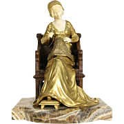 Sculpture of Art Deco 1920's Antique Bronze Young Lady Sewing, Onyx Base
