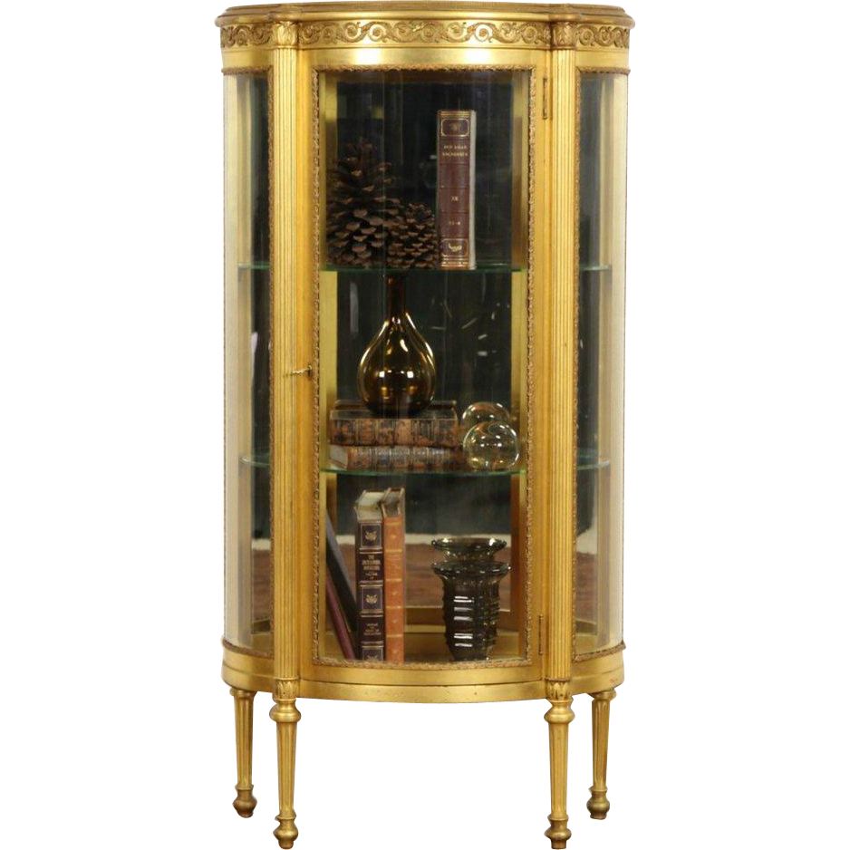 1910 Antique Gold Leaf Curved Glass Vitrine Curio Display Cabinet