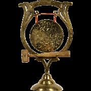 Indian Brass Engraved Vintage Dinner Gong & Mallet