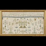 French Signed & Dated 1802 Antique Hand Stitched Sampler, Framed