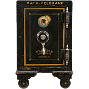 Reliable of Kentucky Signed 1890's Small  Iron Safe, Combination Lock