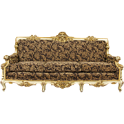 Carved Italian Baroque Vintage Gold & Hand Painted Sofa, New Upholsterey