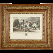 French Menneville 1850's Antique Colored Engraving, Victorian Oak Frame