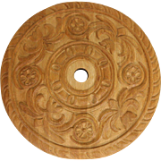 Oak Carved Sculptural Ceiling Medallion for Chandelier, Architectural Salvage