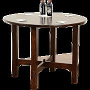 Arts & Crafts Mission Oak 1905 Antique Round Craftsman Game or Breakfast Table