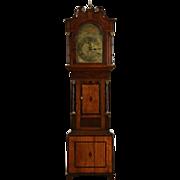 English 1820 Georgian Antique Long Case Grandfather Clock, Quartz Movement