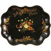 Toleware Antique Tin Tray, Hand Painted & Signed, Blanch Wood 1959
