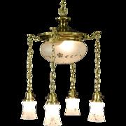 Brass 1910 Antique Ceiling Light Fixture, 5 Cut Glass Shades