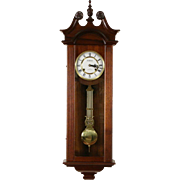 Waltham Signed Queen Ann 31 Day Vintage Mahogany Wall Clock, Brass Movement