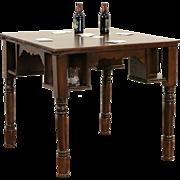 Pub, Tavern or Saloon 1900 Antique Game Table, Mug Shelves