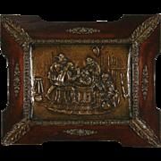 Hammered Brass 1895 Antique Plaque, Smoking & Drinking Scene