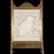 Bronze 1870 Antique Fireplace Screen, Crochet Cat Needlework