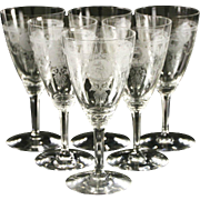 Heisey Pied Piper 1927 Footed Etched Glass Set of 6 Goblets