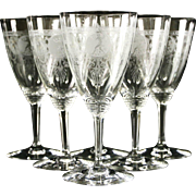 Heisey Pied Piper 1927 Etched Glass Set of 6 Footed Goblets
